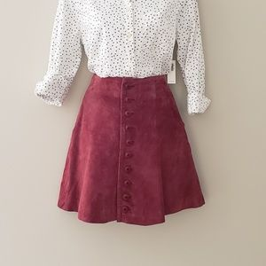 VTG Express Suede Button Front Mini Skirt
